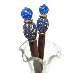 Hairsticks, Hair Chopsticks, Blue Hair Jewelry