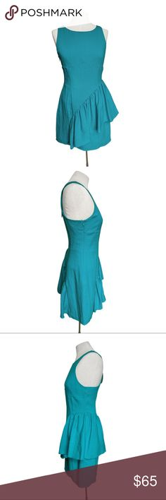 """KEEPSAKE the Label -Trendy Turquoise Ruffled Dress This vivid dress from Keepsake The Label is a must have. Perfect item for any season and occasion, an easy day look you'll be happy to wear all day long!  * From neck to the hem approx 33.5"""" long  PLEASE NOTE  *Dress labeled size M, but run slightly small, therefore listed as S *All my images are filter-free so you can rest assured and know what to expect! *REASONABLE OFFERS ACCEPTED* KEEPSAKE the Label Dresses Midi"""