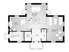 Skärgården, ett hus med traditionell fasad och modernt inre. Mycket ljus och öppet mellan våningarna.