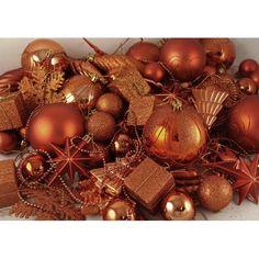 Amazon.com: 125-Piece Club Pack of Shatterproof Burnt Orange Christmas Ornaments: Home & Kitchen