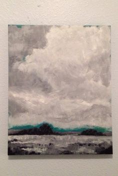 Original painting Monochromatic acrylic landscape art in grayscale and teal Original Art black and white via Etsy