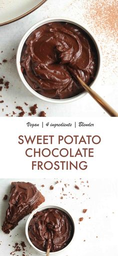 Healthy 4 Ingredient Chocolate Sweet Potato Frosting Naughty Nutrition All you need is a blender 4 simple ingredients and youll have the best tasting chocolate frosting. Vegan Chocolate Icing, Chocolate Recipes, Healthy Chocolate Frosting Recipe, Healthy Frosting, Vegan Frosting, Frosting Recipes, Nutritious Snacks, Healthy Desserts, Gluten Free Recipes