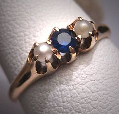 Antique Sapphire Pearl Wedding Ring Vintage Victorian Engagement Ring - ETSY