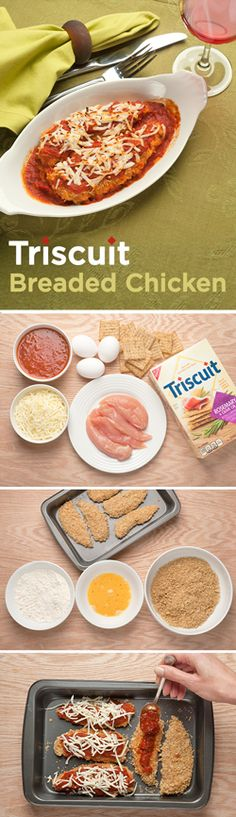 Our Rosemary & Olive Oil TRISCUIT crackers are perfect for breaded recipes! Whisk eggs and water until blended in a shallow dish and combine cracker crumbs and parsley in another dish. Cover 1 chicken tender in flour, dip into egg mixture, then crumb mixture, turning to evenly coat chicken with each ingredient. Place on foil-covered baking sheet with cooking spray and repeat with remaining chicken tenders. Bake approx. 25 min at 350°F & serve with your favorite dipping sauce!