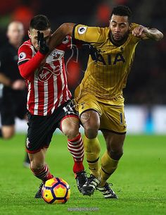 SOUTHAMPTON, ENGLAND - DECEMBER 28: Dusan Tadic of Southampton and Mousa Dembele of Tottenham Hotspur tussle for the ball during the Premier League match between Southampton and Tottenham Hotspur at St Mary's Stadium on December 28, 2016 in Southampton
