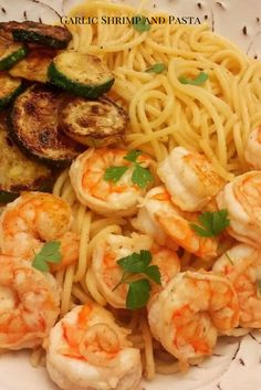 Garlic shrimp and pasta with sauteed zucchini // seafood // shrimp // seafood recipe // pasta // #pasta #seafood #shrimp Shrimp Spaghetti, Shrimp Pasta, Lemon Garlic Butter Shrimp, Sauteed Zucchini, Seafood Pasta Recipes, Fish And Seafood, Pasta Dishes, Food Print, Dinner Recipes