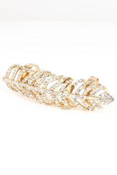 """Crystal leaf full finger ring.   Length: 3""""."""