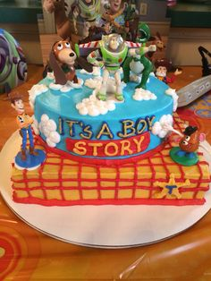 Toy story baby shower cake