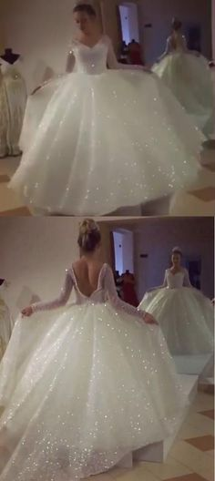 Unique Prom Dresses, Ball Gown V-Neck Long Sleeves Backless Wedding Dress with Sequins – wedding gown Wedding Dresses Near Me, Prom Dresses Long With Sleeves, Wedding Dress Sleeves, Long Sleeve Wedding, Princess Wedding Dresses, White Wedding Dresses, Ball Dresses, White Quinceanera Dresses, Ivory Wedding