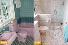 A dated bathtub was replaced by a shower