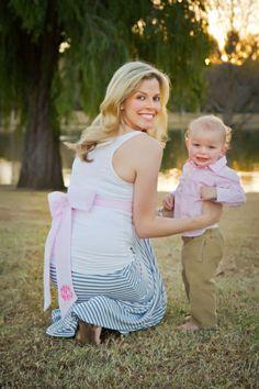 Gender reveal photo shoot with Beaufort Bonnet Co.'s maternity sash!