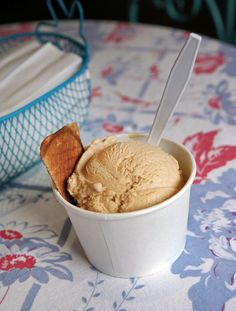Homemade Salty Caramel ice cream from Bliss Artisan in New Harmony, Indiana.