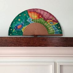 Abanico pintado a mano. Beautiful and colorful handfan cotton and wood. by MonBrise on Etsy