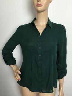 Mine Women's Button Down Shirt Green Roll Tab Long Sleeve Size Medium | eBay