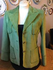 Tribal Women'S Leather Suit Jacket Suede Boho Size 10 Green Apple Lime Spring | eBay