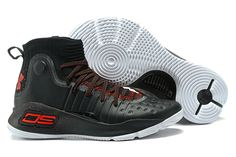 2017 New Under Armour Curry 4 Black Red White Shoes For Sale