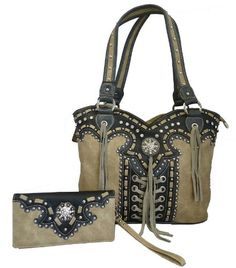 Montana West Concealed Gun Purse and Wallet Set Laces and Tassels Design Tan
