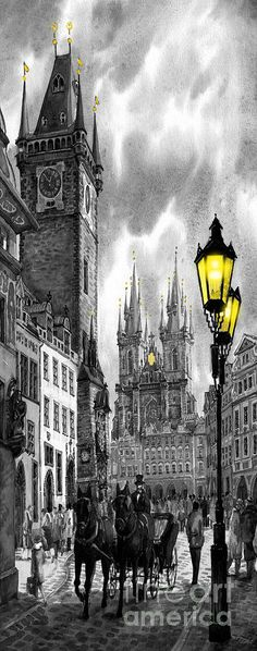 BW Prague Old Town Square by Yuriy Shevchuk ~ giclee on watercolor paper