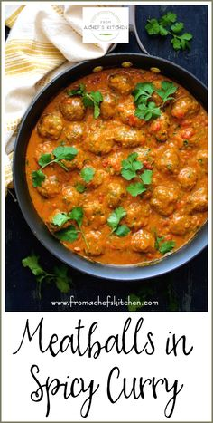 in Spicy Curry Meatballs in Spicy Curry can be made with any protein! Try beef, lamb, chicken or turkey meatballs smothered in this amazing spicy Indian-inspired sauce! Spicy Curry Recipe, Spicy Recipes, Curry Recipes, Indian Food Recipes, Asian Recipes, Beef Recipes, Cooking Recipes, Healthy Recipes, Healthy Breakfasts