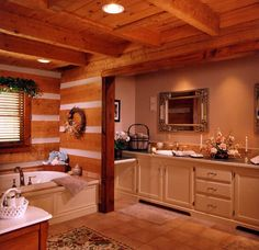 Pictures of rustic and modern log home bathrooms!