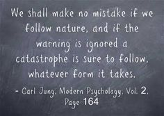 We shall make no mistake if we follow nature, and if the warning is ignored a catastrophe is sure to follow, whatever form it takes. ~Carl Jung, Modern Psychology, Vol. 2, Page 164.