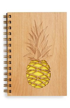 Cardtorial 'Pineapple' Wood Cover Journal available at #Nordstrom