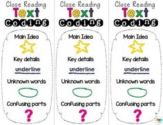 These colorful text coding bookmarks FREEBIE can be used by students as a reference while they close read independently.