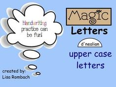 "Magic Upper Case LETTERS d'nealian Handwriting SmartBoard Lessons (.notebook file) Each page has a ""recording"" of the letters being written, printable pages included at well.$"