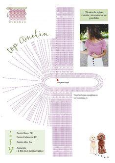 SusiMiu | Patrón de Top Circular en Ganchillo. TOP AMELIA Débardeurs Au Crochet, Pull Crochet, Crochet Tunic, Crochet Crop Top, Crochet Diagram, Crochet Woman, Crochet Chart, Easy Crochet, Crochet Clothes
