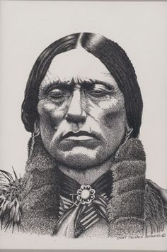 """Ron Burgess, known to family and friends as """"Tacho,"""" is the Former Chairman of the Comanche Nation. Burgess' fine pen and ink rendering . Comanche Indians, Quanah Parker, Fine Pens, West Art, Native American Artifacts, History Facts, Father, Artwork, Ink"""