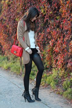 Choies white sweater,  trench coat, red shoulder bag, faux leather shorts, tassel booties, Luxe Cartel rings