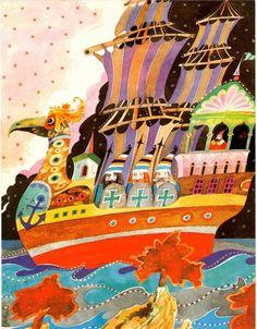 Taken from Alexander Pushkin's The Tale of the Golden Cockerel, 1992 Illustration by Nikolai Seleschuk Russian Poets, Alexander Pushkin, Mythology, Fairy Tales, Folk, Illustration Art, Symbols, Fantasy, Sea