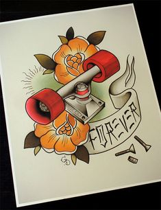 Traditional tattoo flash Dogtown Skateboard Forever 11'x14' by Yukittenme
