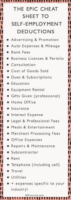 Tax Deductions | Write Offs| Self Employed| Entrepreneur| Creative Entrepreneur