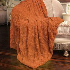 BOON Throw & Blanket Herringbone Faux Fur Throw Blanket Color: Burnt Orange