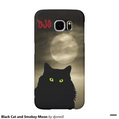 Black Cat and Smokey Moon Samsung Galaxy S6 Cases. This Spooky kitty wants to bring good luck to your smart phone. Available in different styles and your initials in dark red in the corner.
