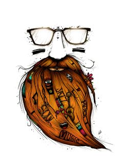 """Beard Me Some Music"" by Luis Pinto  http://www.behance.net/gallery/Beard-Me-Some-Music/4280771"
