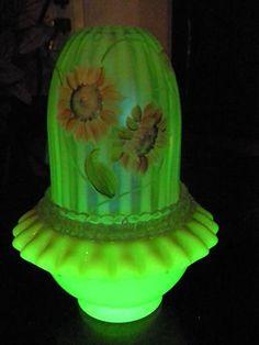 Fenton Fairy Lamp, Hand Painted - Vaseline