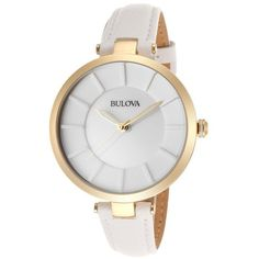 Bulova Women's White Genuine Leather and Dial (1.640 ARS) ❤ liked on Polyvore featuring jewelry, watches, accessories, bracelets, relógios, white, leather-strap watches, dial watches, bulova wristwatches and snap jewelry
