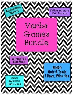 This bundle is great for reviewing identifying verbs within a sentence!Games included: BINGO I Have, Who Has Quiz and TradeThis is also part of the Grammar Games MEGA Bundle!If you like this, check out my other grammar games!Adjectives BINGO I Have, Who Has Quiz and TradeAdverbs BINGO I Have, Who Has Quiz and TradeNouns BINGO I Have, Who Has Quiz and TradePrepositions BINGO I Have, Who Has Quiz and TradePronouns BINGO I Have, Who Has Quiz and Trade-Customer Tips:How to get TpT credits to…