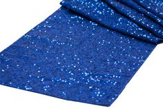 """Blue Sequin table runner. Beautiful for all! Fantastic for any wedding, event, or home decor. These beautiful sequin table runners shimmer with delight! Table runner is 12.2"""" wide by 108"""" long. Fits s"""