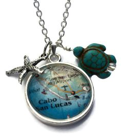 Cabo San Lucas necklace, Cabo map pendant, Caboholics necklace, beach necklace, travel themed necklace