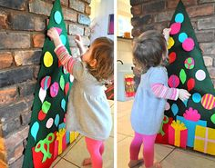 The ornament cut-outs on this felt Christmas tree are removable – so your kidlets can 'help' decorate (and un-decorate) to their heart's content! Tutorial here.  .
