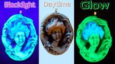 Glow in the Dark Cameo Gibson Girl Wearable Art by EyeGloArts, $45.00