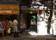 鈴木英人 : 街角の陽だまり Japanese Illustration, Landscape Illustration, Illustration Art, Illustrations, Garage, Naive Art, Comic Art, Times Square, Gallery