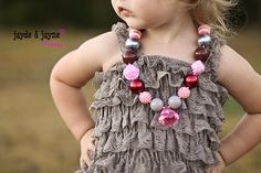 Gray Lace romper, gray ruffle outfit, baby lace romper Size 6-24m NO straps newborn baby girl toddler necklace photography prop