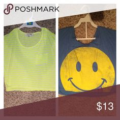 Two super cute cropped shirts! This listing is for a bundle of two super cute cropped shirts. One is yellow&white striped and the other is a blue smiley face top. Neither have been worn. Let me know if you have any questions! Tops Crop Tops