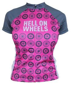 Hell on wheels retro womens cycling jersey. I like this one enough to be ok with the pink!