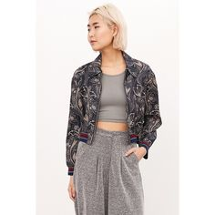 Silence + Noise Iris Floral Bomber Jacket ($99) ❤ liked on Polyvore featuring outerwear, jackets, multi, white floral jacket, floral print jacket, blouson jacket, patterned bomber jacket and cropped bomber jacket