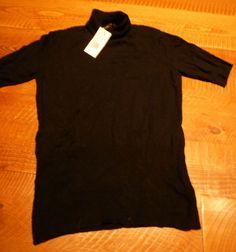 BCBG Max Azria Black Turtleneck Short Sleeve Woman's Sweater NEW  LARGE  NWT #BCBGMAXAZRIA #Turtleneck